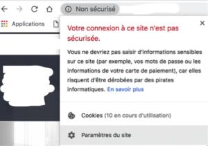 Notification de site non sécurisé ssl